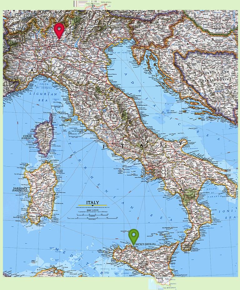 Mappa Italia inizio fine itinerario Tourists4Future