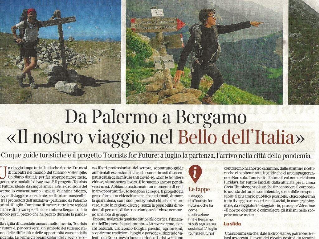 Corriere della Sera parla di Tourists for future articolo 2 giugno 2020